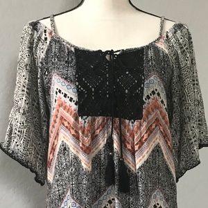 Angie Bohemian Tunic Top Shirt sz M